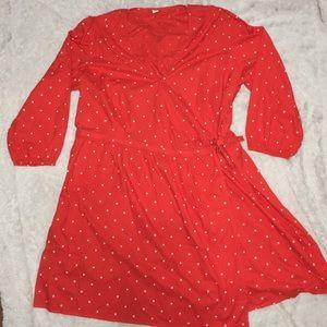 """2X XXL Old Navy Plus Orange Wrap Dress 3/4"""" Sleeve"""